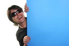 billboardu człowiek gospodarstwa Obrazy Stock