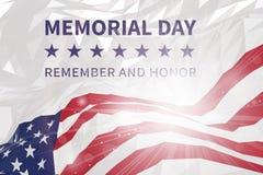 billboardu dzień odosobniony pamiątkowy biel Pamięta I Honoruje Flaga amerykańska w trójgraniastym st Obraz Stock