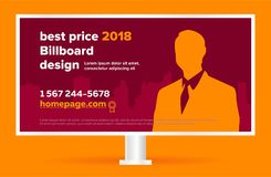 Billboardu szablonu sztandar Nowożytny biznesowy projekt dla plenerowej reklamy Obrazy Stock
