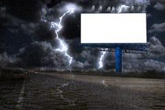 Billborad with strom. Blank billboard with strom,strike of lightning Royalty Free Stock Photo