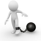 Bille à chaînes attachée à un homme Photos libres de droits