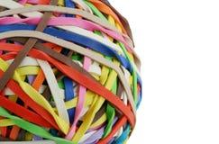 Bille colorée d'isolement de rubberband macro Images libres de droits