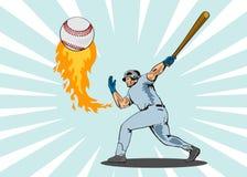 Bille d'ouate en feuille de joueur de baseball illustration de vecteur