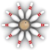 Bille de bowling et skittles illustration stock