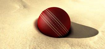 Bille de cricket enterrée en sable Photos stock
