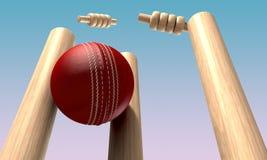 Bille de cricket heurtant des guichets Image libre de droits