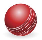 Bille de cricket traditionnelle rouge brillante Photographie stock libre de droits