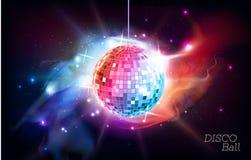 Bille de disco Boule de disco sur le fond de l'espace ouvert illustration de vecteur