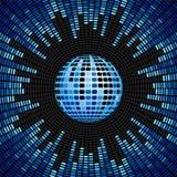 Bille de disco et fond bleus de palonnier Image libre de droits