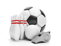 Bille de football, bille de golf, Photo stock