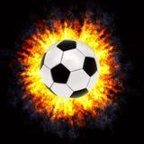 Bille de football dans l'explosion puissante Image stock