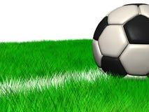 Bille de football de cgi dans l'herbe sur une ligne blanche Photographie stock libre de droits