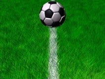 Bille de football de cgi dans l'herbe sur une ligne blanche Photos libres de droits