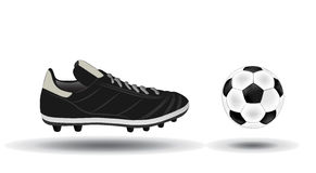Bille de football et illustration de chaussures Image libre de droits