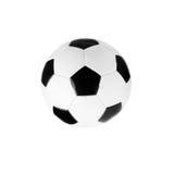 Bille de football noire et blanche d'isolement sur le blanc Photographie stock