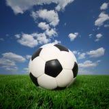 Bille de football sur l'herbe Images libres de droits