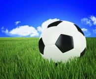 Bille de football sur l'herbe verte Photographie stock libre de droits