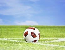 Bille de football sur l'herbe verte Photos libres de droits