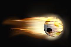 Bille de football sur l'incendie Photos stock