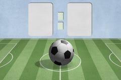 Bille de football sur la zone avec le fond de rayure Photo stock