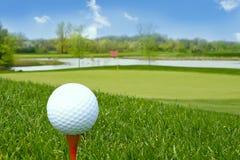 Bille de golf au sol Photos stock