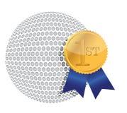 Bille de golf avec la conception d'illustration de récompense Photos stock
