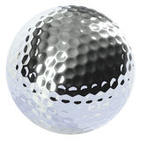 Bille de golf de chrome d'isolement Image stock