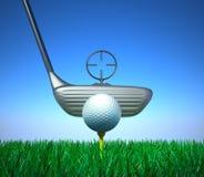 Bille de golf et dispositif de cible de whith de té Photo libre de droits