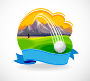 Bille de golf et un beau club de golf illustration stock