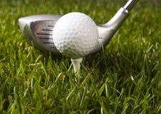 Bille de golf sur l'herbe avec le gestionnaire photos stock