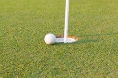 Bille de golf sur la languette de la cuvette Image libre de droits