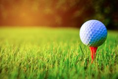 Bille de golf sur le cours Bille de golf sur le té orange photo libre de droits