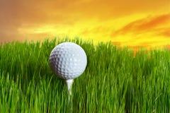 Bille de golf sur le té au coucher du soleil Image stock