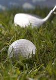 Bille de golf sur le té dans l'herbe Images stock