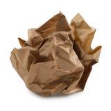 Bille de papier brun chiffonné. photos stock