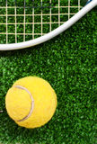 Bille de tennis sur l'herbe Images stock