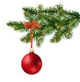 Bille en verre rouge sur l'arbre de Noël Photographie stock libre de droits