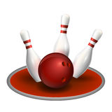 Bille et broches de bowling Photographie stock libre de droits