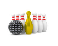 Bille et broches de bowling d'isolement sur le blanc Image stock