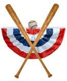 Bille et drapeau de battes de baseball Image libre de droits