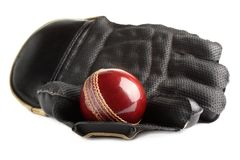 Bille et gant de cricket. photo stock