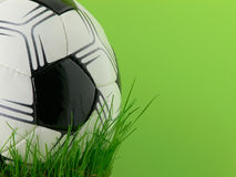 Bille et herbe de football Photographie stock