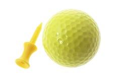 Bille et té de golf jaunes Images libres de droits