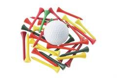 Bille et tés de golf photographie stock libre de droits