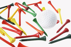 Bille et tés de golf Images libres de droits