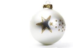 Bille mate de Noël blanc avec les étoiles d'or photo stock