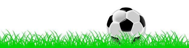 Bille ou football de football noire et blanche sur l'herbe Photographie stock libre de droits