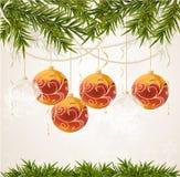 Bille transparente de Noël de fin rouge Image libre de droits