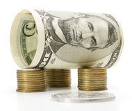 billen coins dollar fem över bunt Arkivfoton