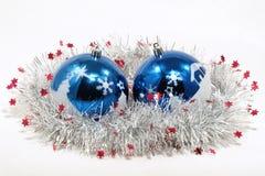 Billes bleues de Noël. Images libres de droits